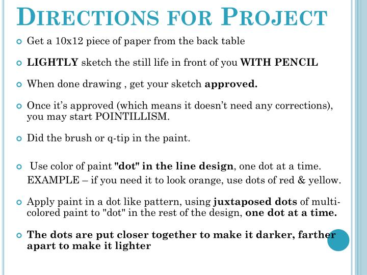 Directions for Project