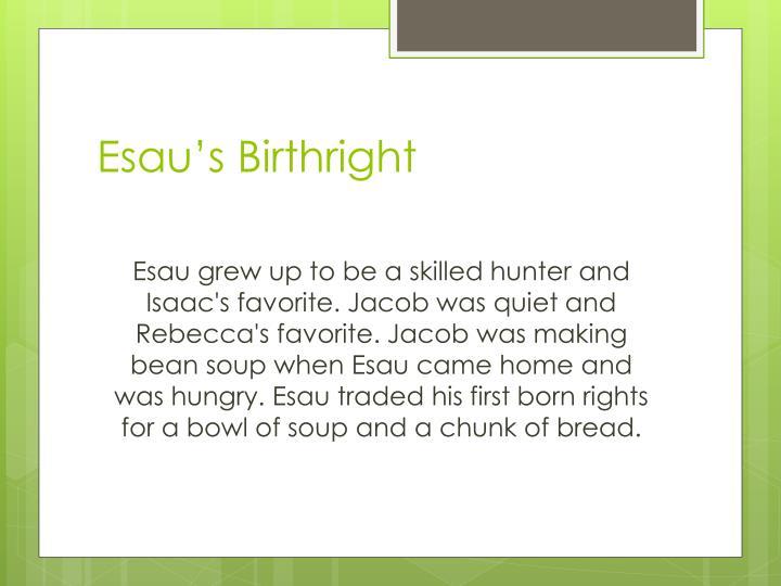 Esau's Birthright