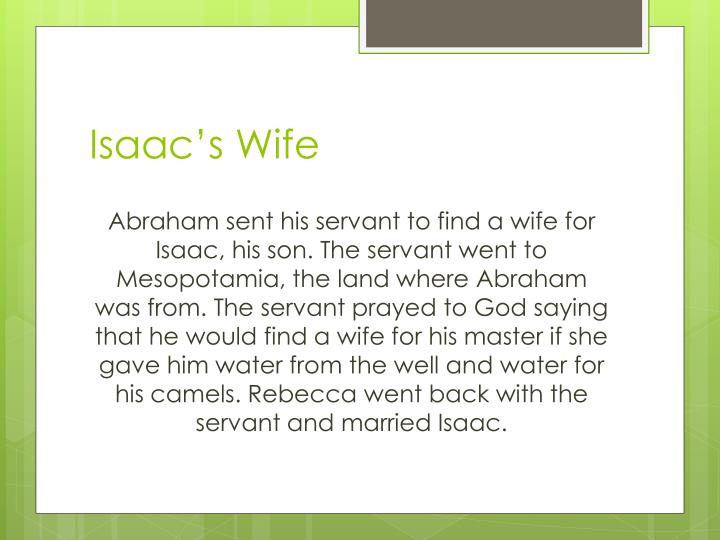 Isaac's Wife