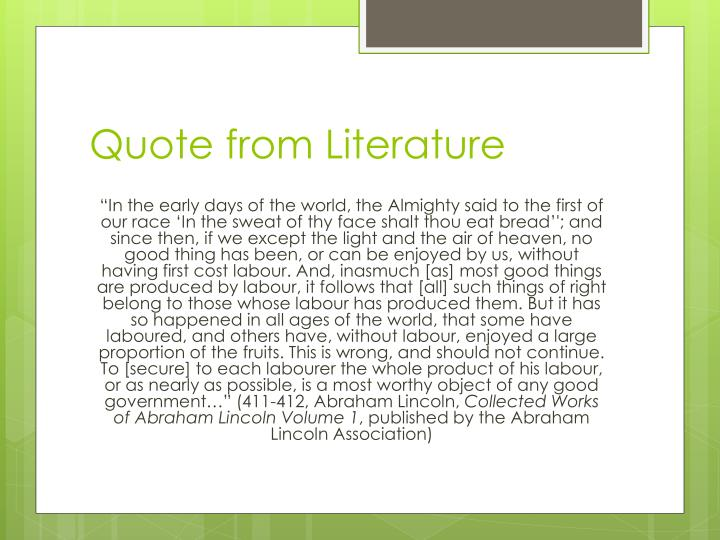 Quote from Literature