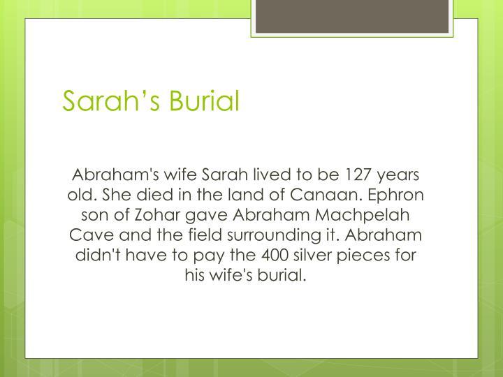 Sarah's Burial