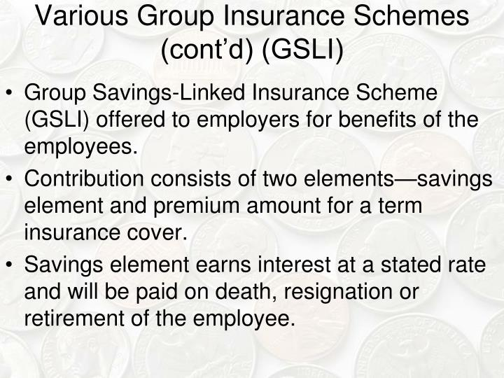 Various Group Insurance Schemes (cont'd) (GSLI)