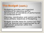 the budget cont