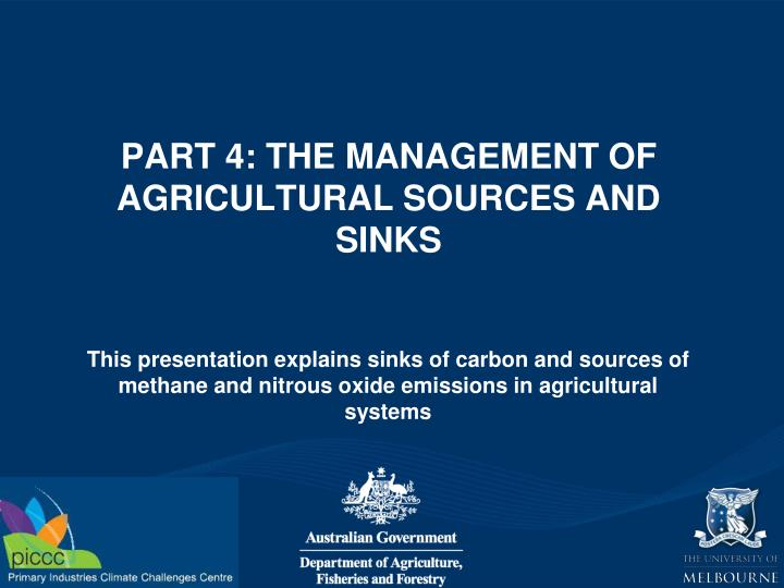 Part 4 the management of agricultural sources and sinks