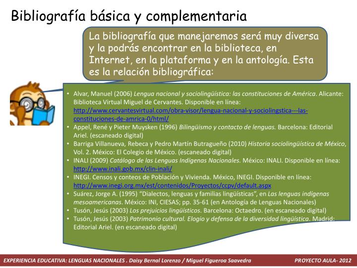 Bibliografía básica y complementaria