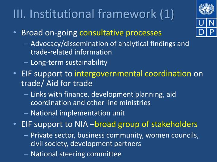 III. Institutional framework (1)