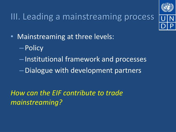 III. Leading a mainstreaming process