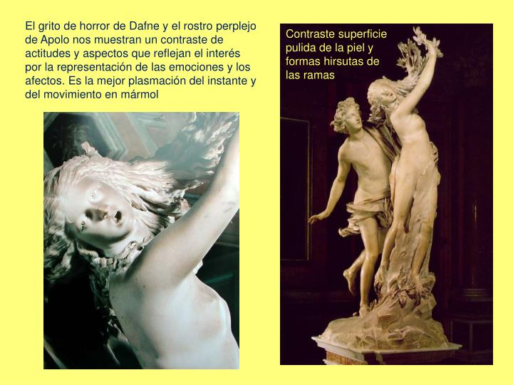 El grito de horror de Dafne y el rostro perplejo de Apolo nos muestran un contraste de actitudes y aspectos que reflejan el interés por la representación de las emociones y los afectos. Es la mejor plasmación del instante y del movimiento en mármol