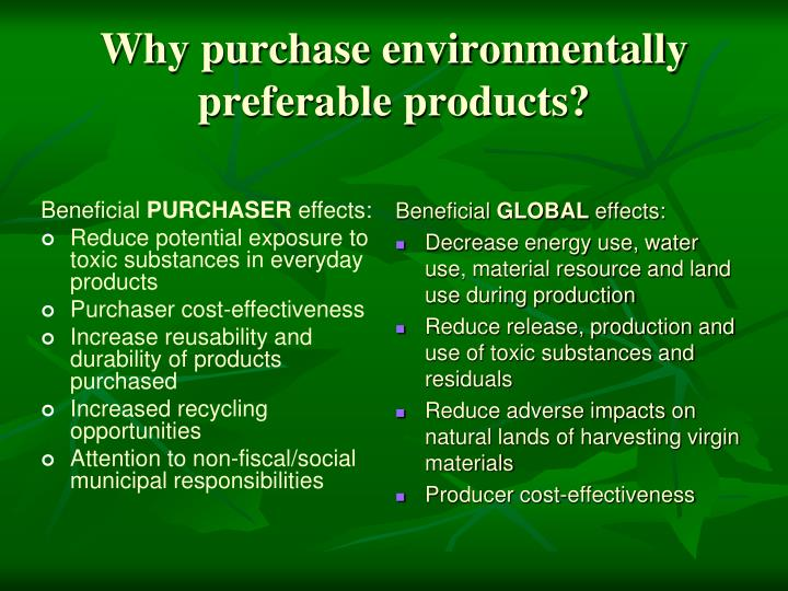 Why purchase environmentally preferable products?