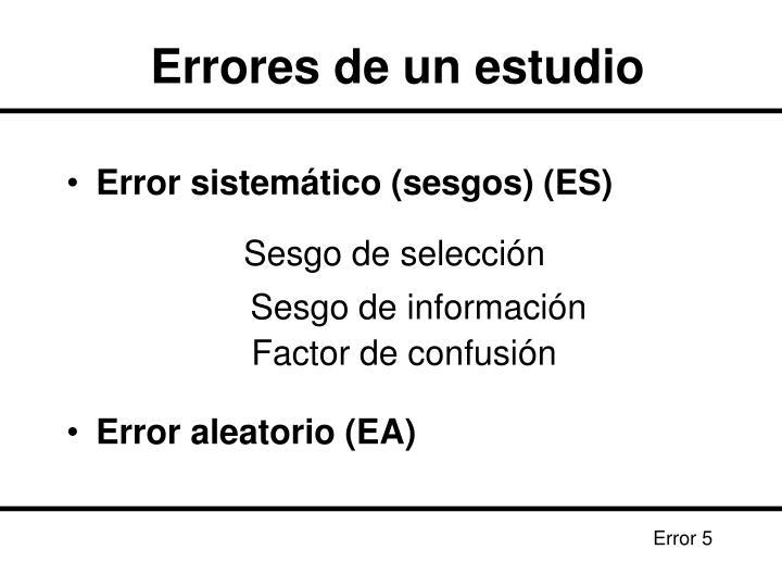 Errores de un estudio