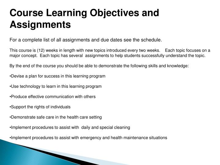 Course Learning Objectives and Assignments