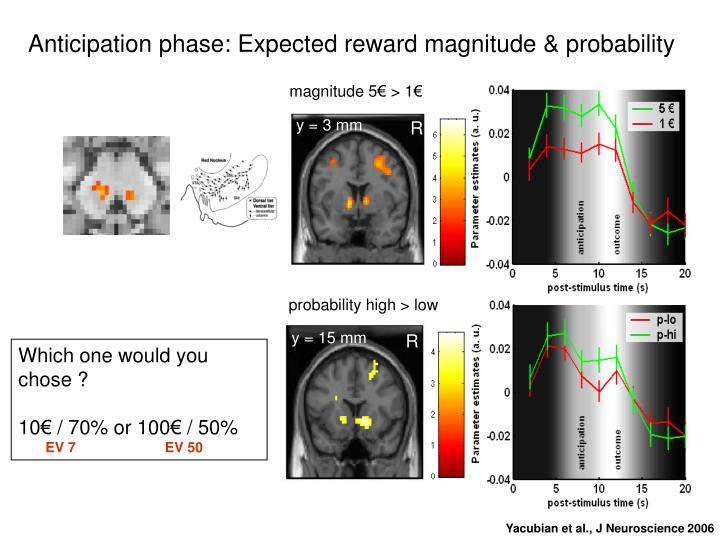 Anticipation phase: Expected reward magnitude & probability