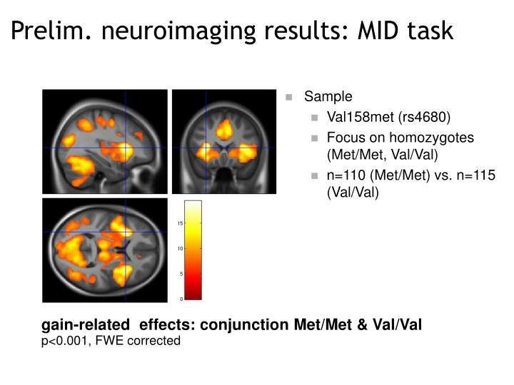 Prelim. neuroimaging results: MID task