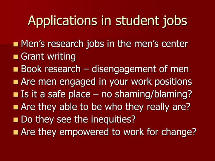 Applications in student jobs