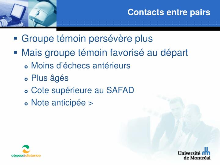 Contacts entre pairs