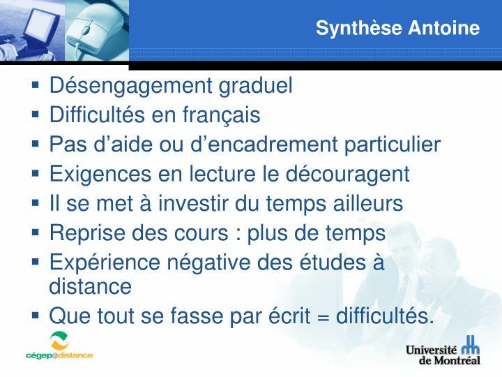 Synthèse Antoine