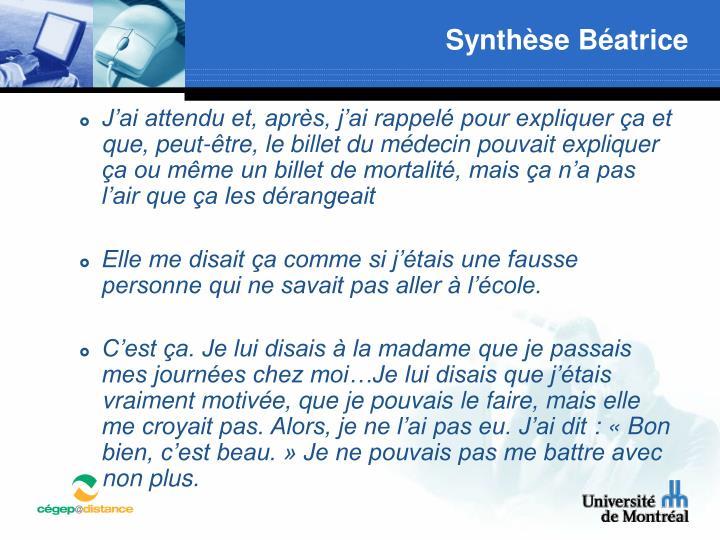 Synthèse Béatrice
