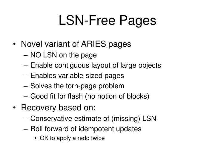 Lsn free pages