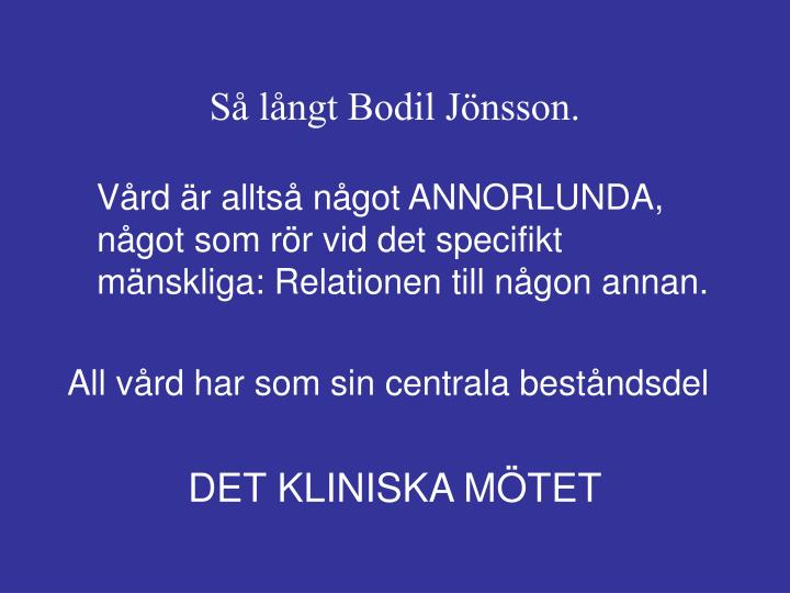 Så långt Bodil Jönsson.