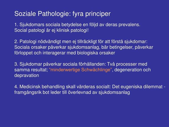 Soziale Pathologie: fyra principer