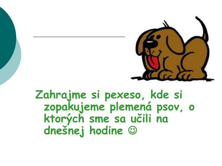 Zahrajme si pexeso, kde si zopakujeme plemená psov, o ktorých sme sa učili na dnešnej hodine