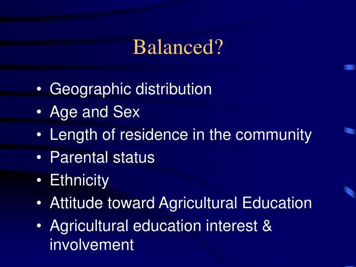 Balanced?