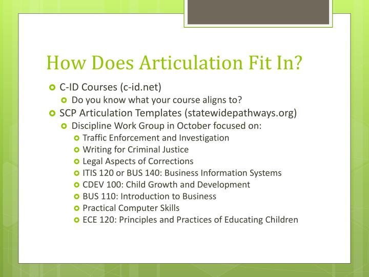 How Does Articulation Fit In?