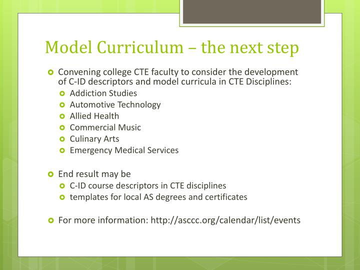 Model Curriculum – the next step