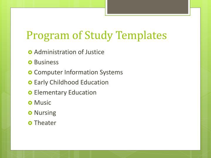 Program of Study Templates