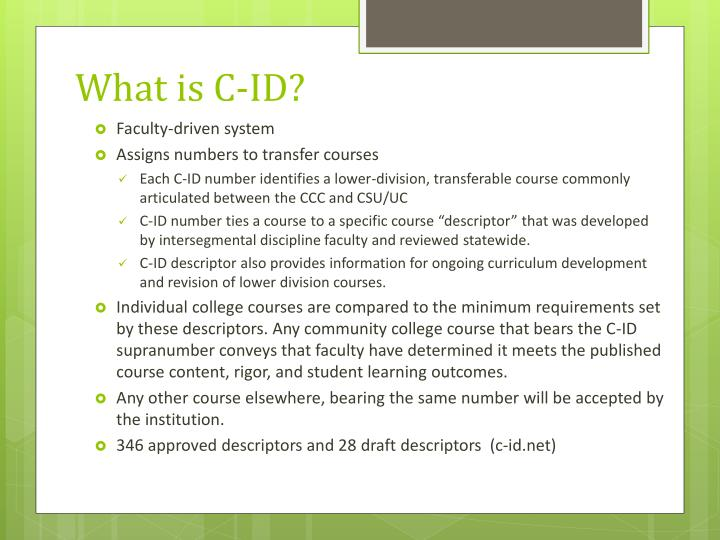 What is C-ID?