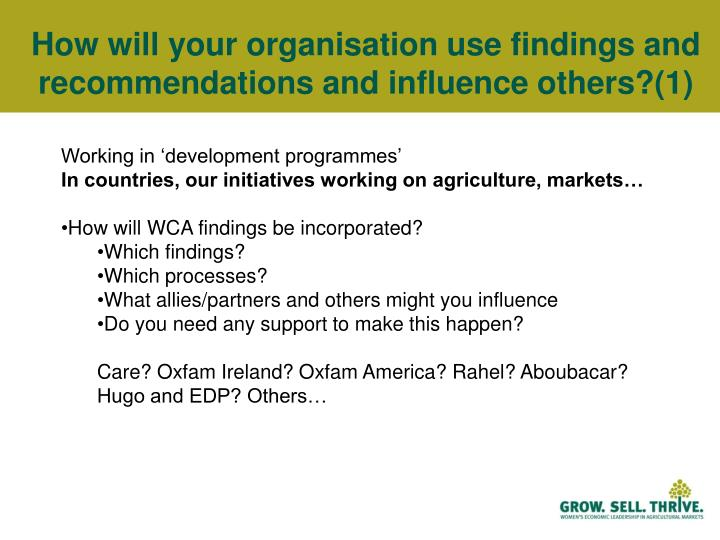 How will your organisation use findings and recommendations and influence others?(1)