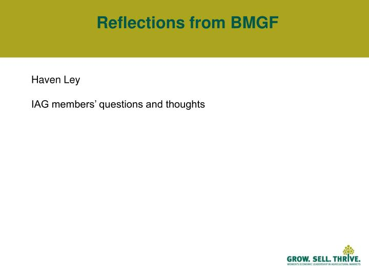 Reflections from BMGF