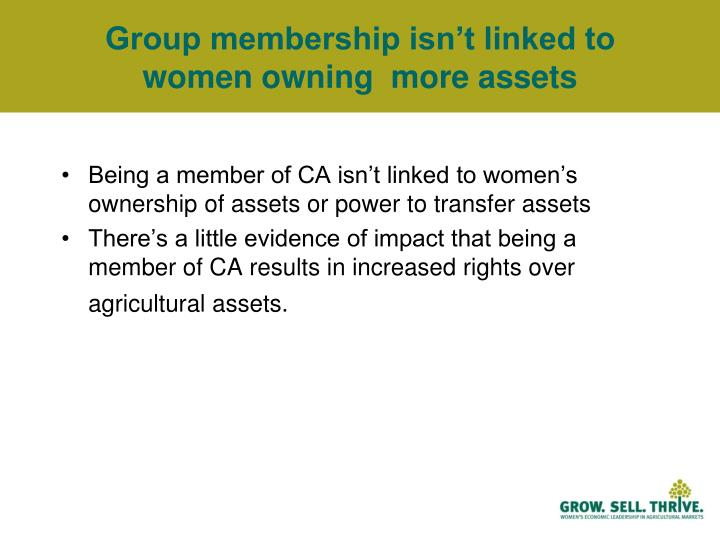 Group membership isn't linked to women owning  more assets
