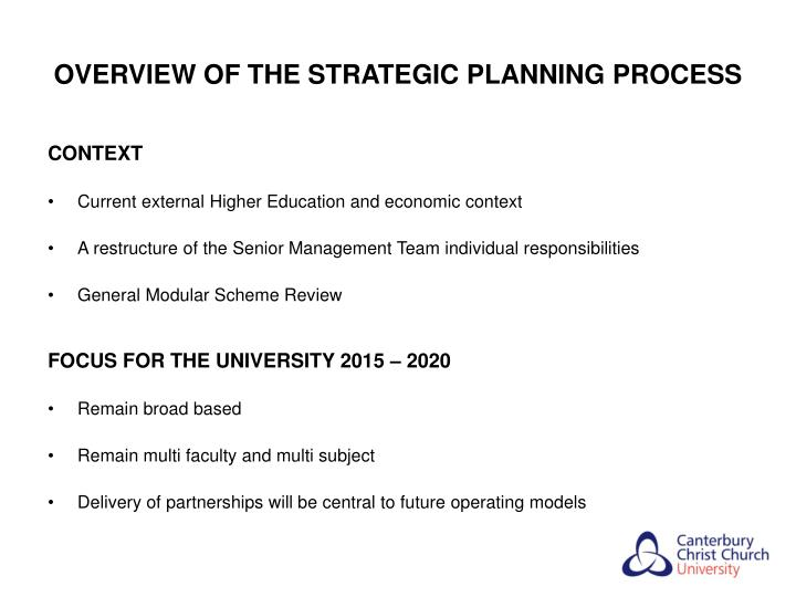 OVERVIEW OF THE STRATEGIC PLANNING