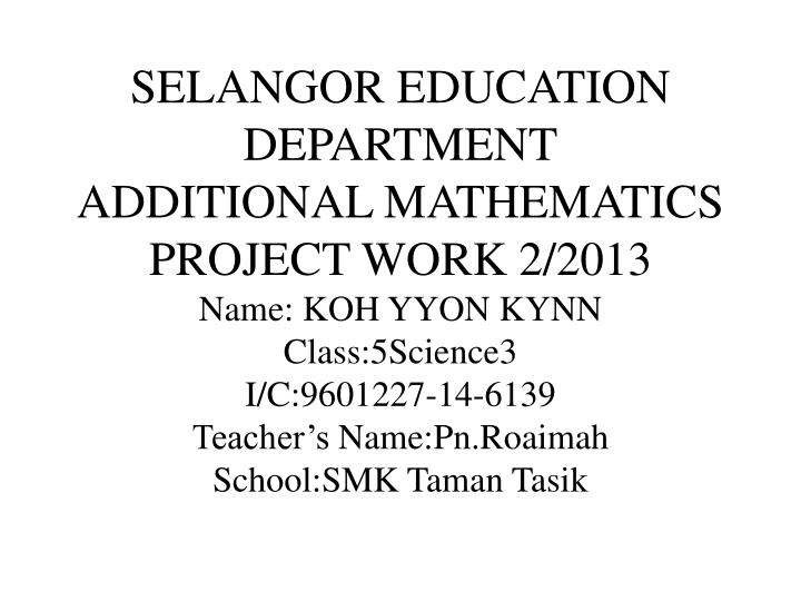 SELANGOR EDUCATION DEPARTMENT