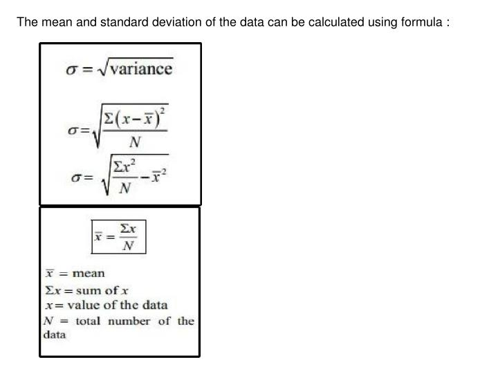 The mean and standard deviation of the data can be calculated using formula :
