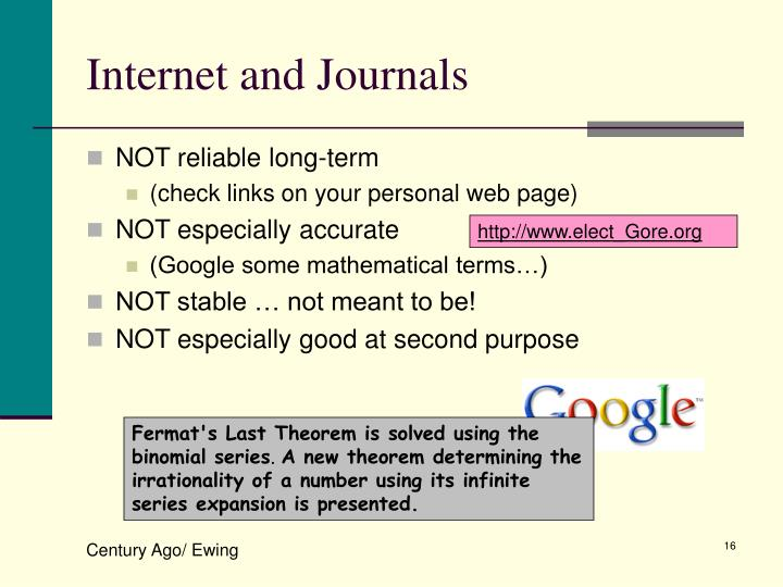 Internet and Journals