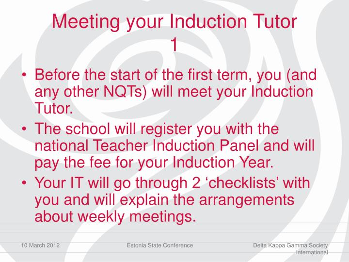 Meeting your Induction Tutor