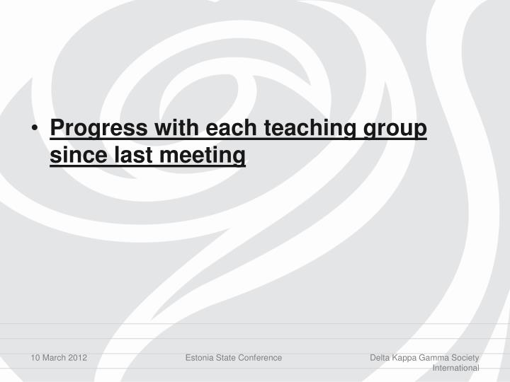 Progress with each teaching group since last meeting