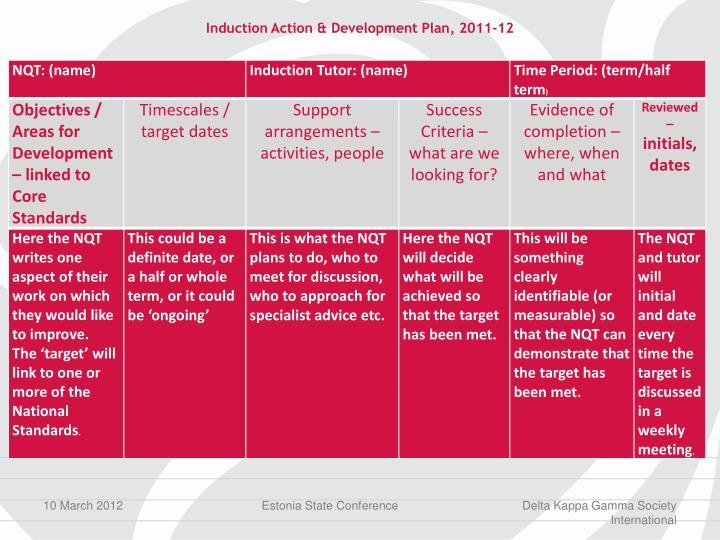 Induction Action & Development Plan, 2011-12