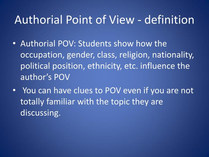 Authorial point of view definition