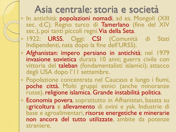 Asia centrale: storia e societ