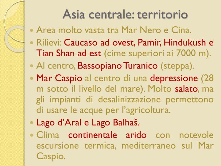 Asia centrale: territorio