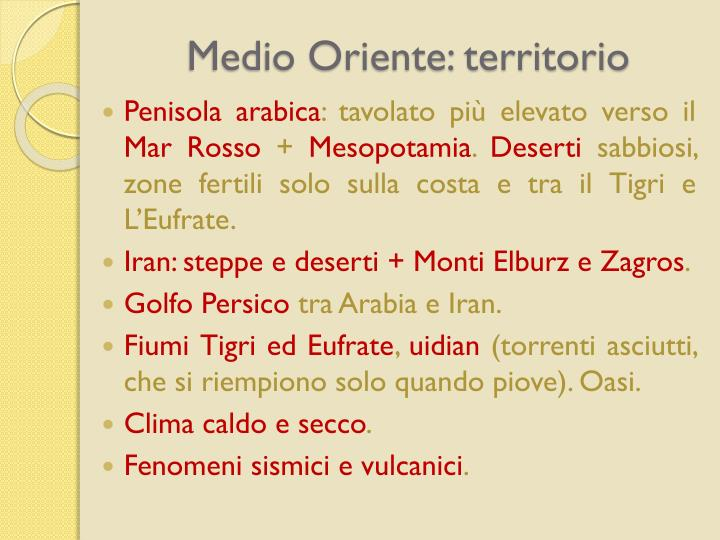 Medio Oriente: territorio