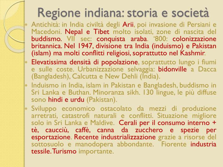 Regione indiana: storia e societ