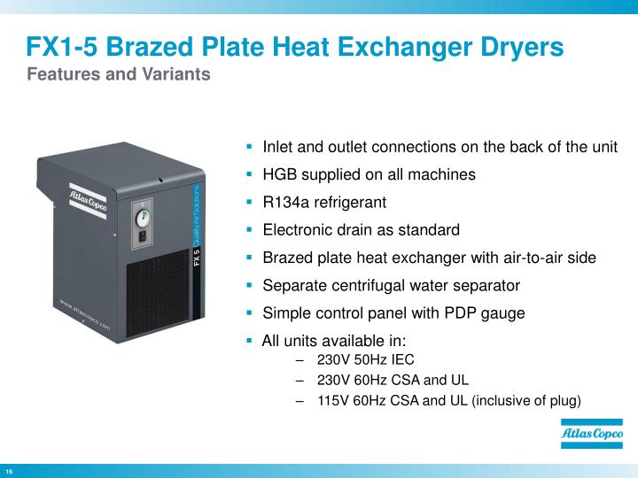 FX1-5 Brazed Plate Heat Exchanger Dryers