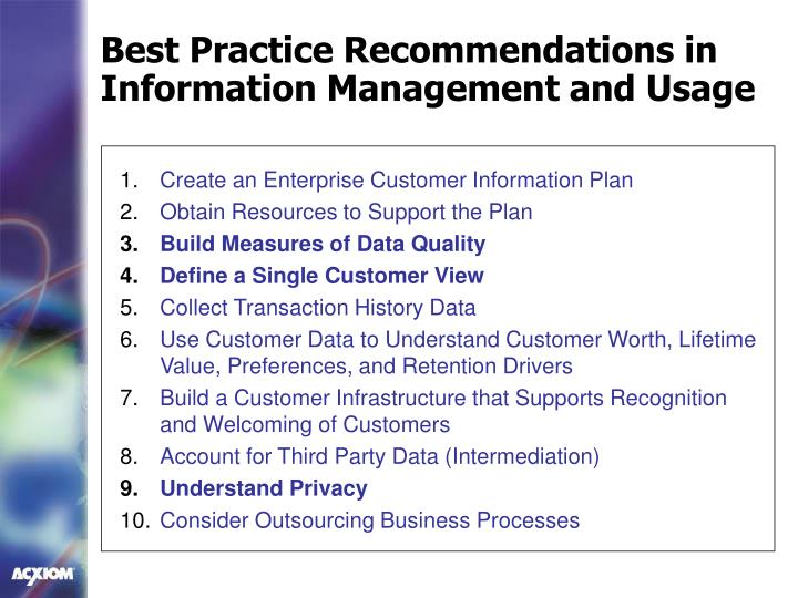 Best Practice Recommendations in Information Management and Usage
