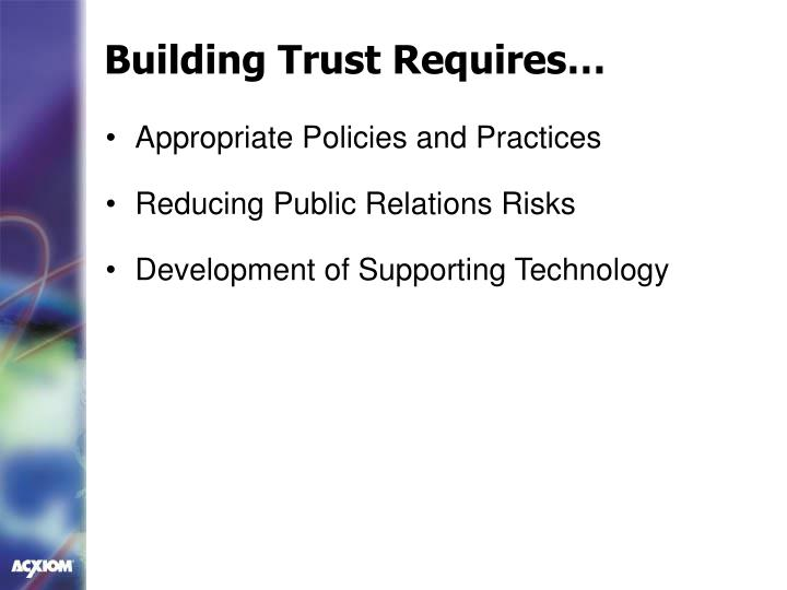 Building Trust Requires…
