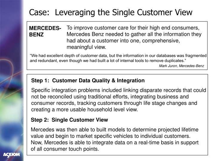 Case:  Leveraging the Single Customer View