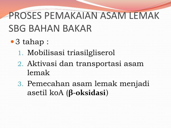 PROSES PEMAKAIAN ASAM LEMAK SBG BAHAN BAKAR